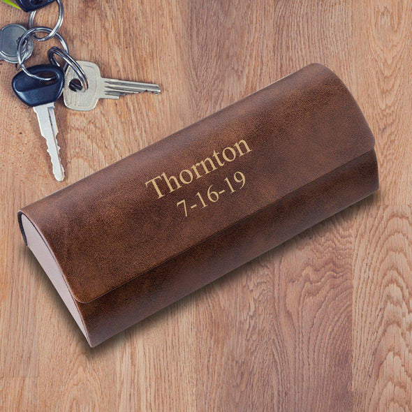 Personalized Rustic Brown Glasses Case - Hard Shell