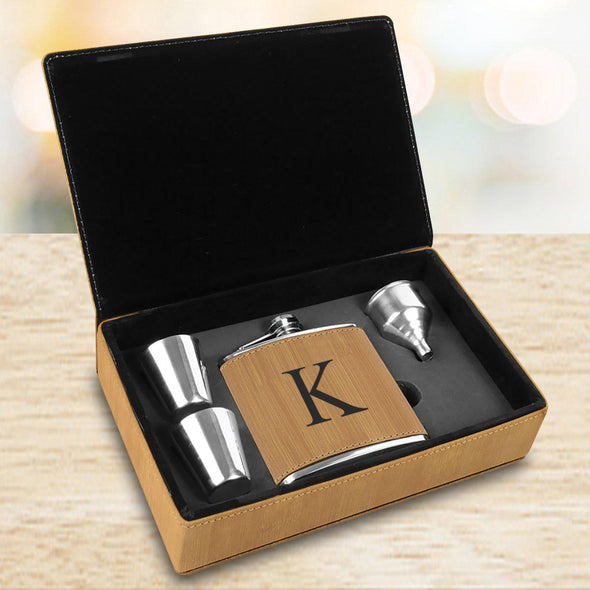 Personalized Bamboo Flask Set
