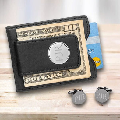 Groomsmen Personalized Black Leather Wallet & Gunmetal Cuff Links Gift Set-