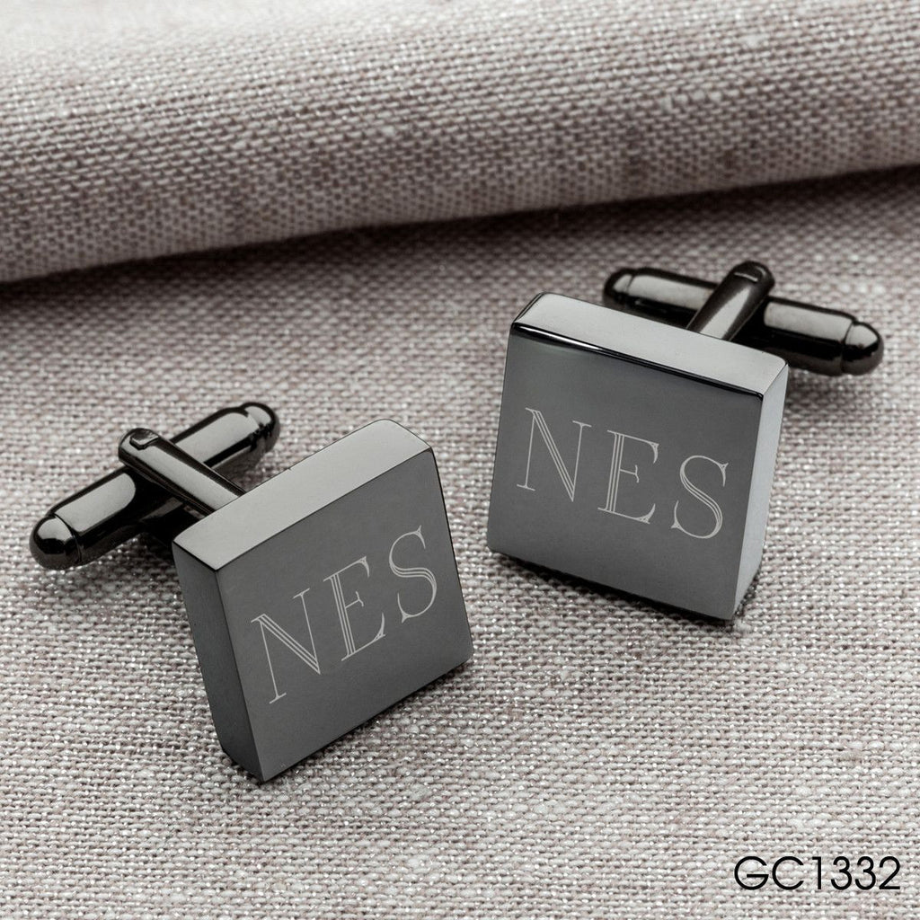 Engraved Black Leather Wallet & Cufflinks Gift Set