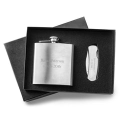 Engraved 6 oz Stainless Steel Flask  w/ Lock Back Knife Gift Set