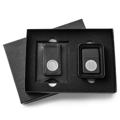 Engraved Black Leather Wallet & Black Lighter Set-Groomsmen Gifts