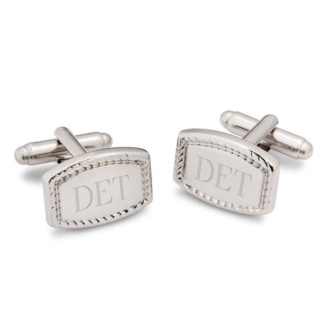 Engraved Beaded Polished Rectangular Cufflinks-Groomsmen Gifts