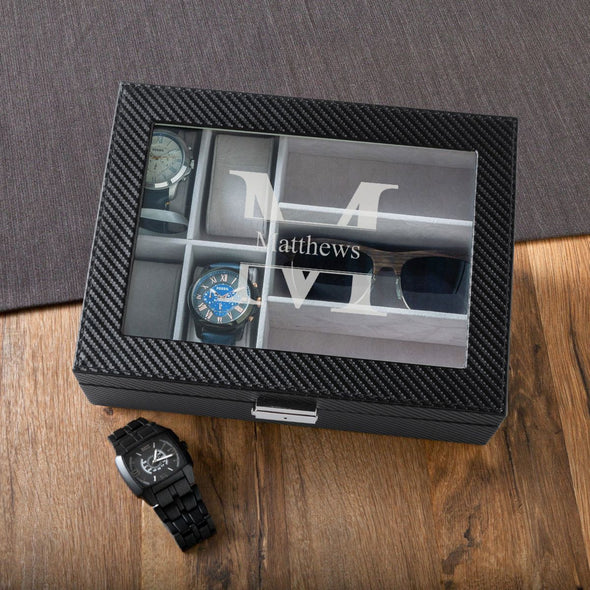 Personalized Watch Box - Sunglasses Box - Watch display Case - Groomsmen-Stamped-