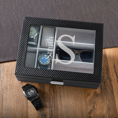 Personalized Watch Box - Sunglasses Box - Watch display Case - Groomsmen-Modern-