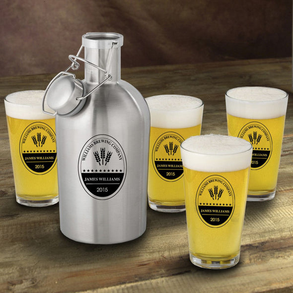 Stainless Steel Beer Growler with Pint Glass Set - Personalized Beer Growler and Pint Glass Set - Personalized Beer Glass Set for Groomsmen-BrewingCo-