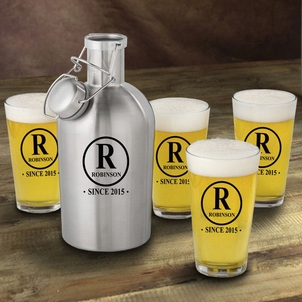 Stainless Steel Beer Growler with Pint Glass Set - Personalized Beer Growler and Pint Glass Set - Personalized Beer Glass Set for Groomsmen-Initial-