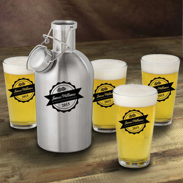 Stainless Steel Beer Growler with Pint Glass Set - Personalized Beer Growler and Pint Glass Set - Personalized Beer Glass Set for Groomsmen-BottleTop-