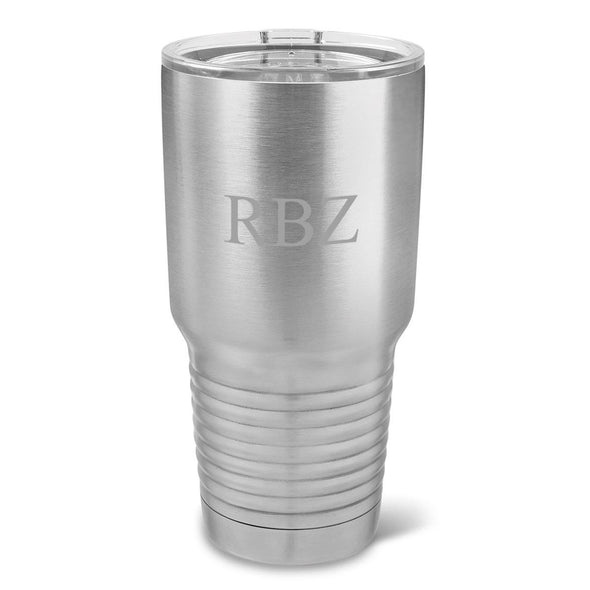 Personalized Húsavík 30 oz. Stainless Silver Double Wall Insulated Tumbler - Insulated Tumbler for Groomsmen - All-3Initials-