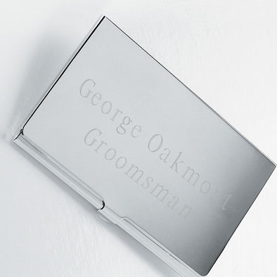 Personalized Business Card Holder - Silver Plated - Groomsmen Gifts-