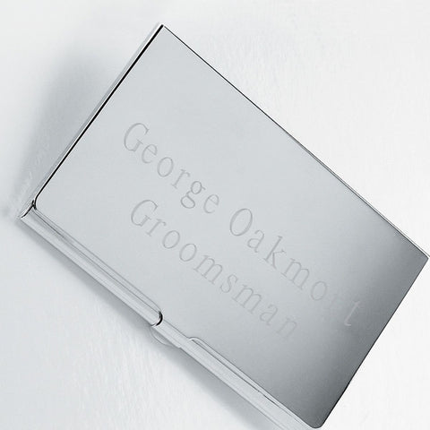 Personalized Silver Plated Business Card Case-Groomsmen Gifts