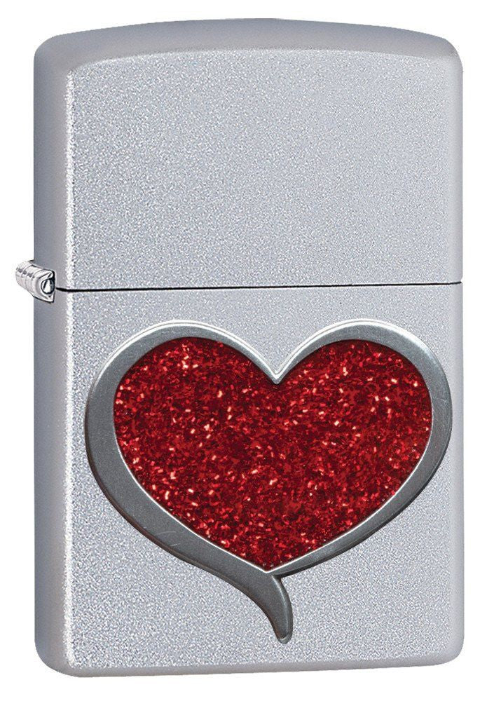Personalized Glitter Heart Zippo Lighter
