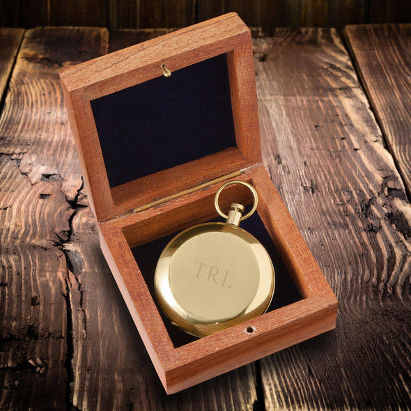 Personalized High Polish Gold Keepsake Compass with Wooden Box-Outdoors-JDS-3Initials-