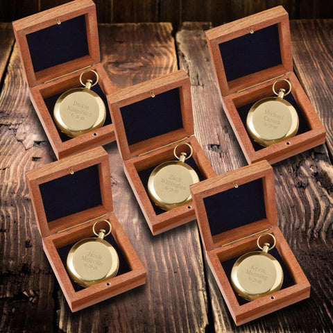 Personalized High Polish Gold Keepsake Compass with Wooden Box for Groomsmen - Set of 5-Groomsmen Gifts
