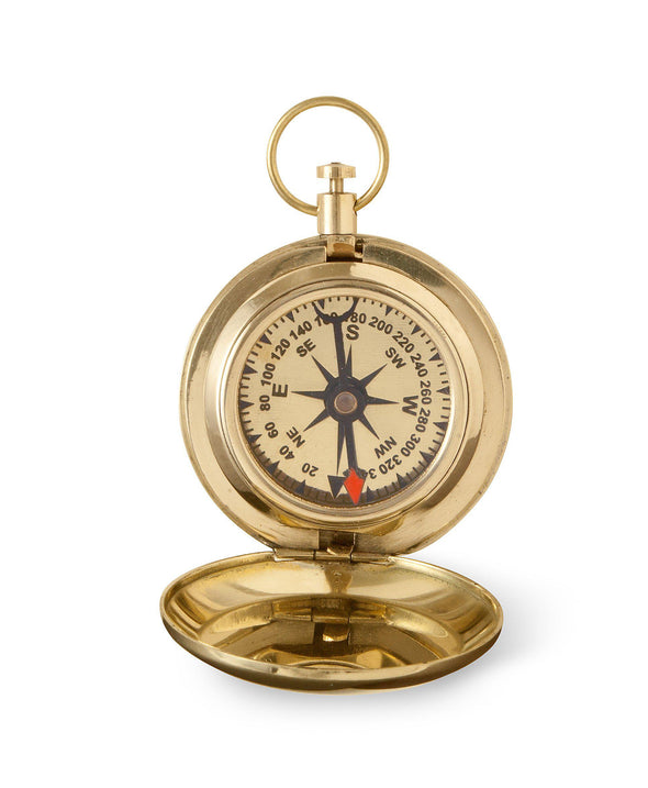 Personalized High Polish Gold Keepsake Compass with Wooden Box-Outdoors-JDS-