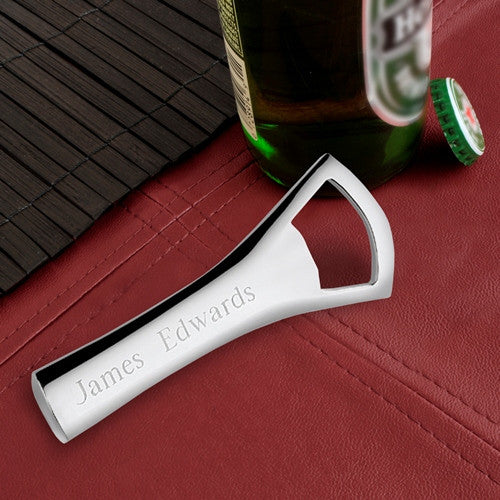 Personalized Bottle Opener - Silver Plated - Groomsman Gift-Default-