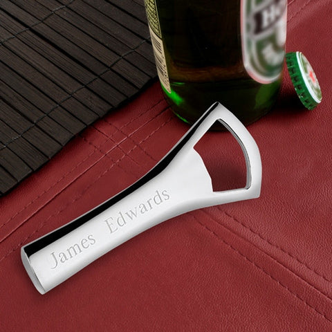 Engraved Silver Plated Bottle Opener