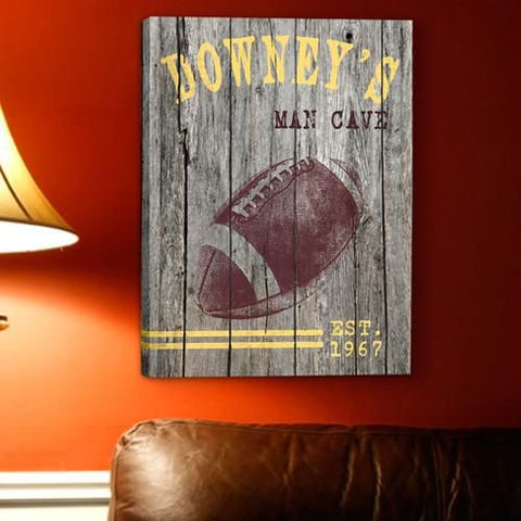 Personalized Football Canvas Print for Groomsmen
