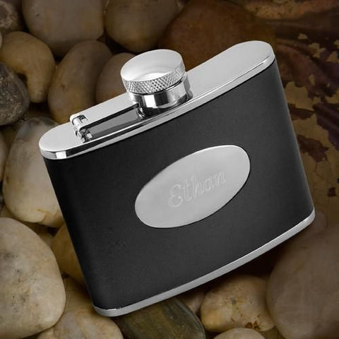 Groomsmen Engraved 4.0 oz. Black Leather and Stainless Steel Flask-Groomsmen Gifts