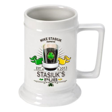 Personalized 16 oz. Ceramic Beer Mug-Barware-JDS-Irish-