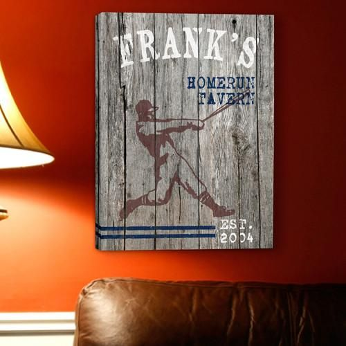 Personalized Signs - Man Cave - Canvas Prints - Groomsmen Gifts-Home Run-