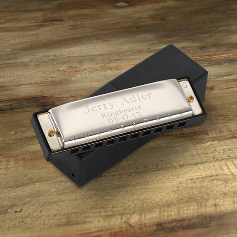 Engraved Stainless Steel Hohner Harmonica-Groomsmen Gifts