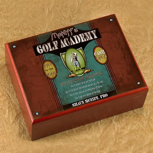Personalized Golf Academy Cigar Humidor