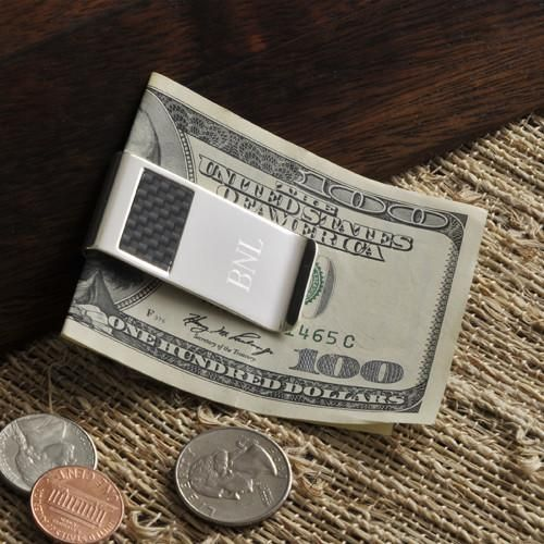 Personalized Money Clip - Carbon Fiber - Silver Plated - Groomsmen