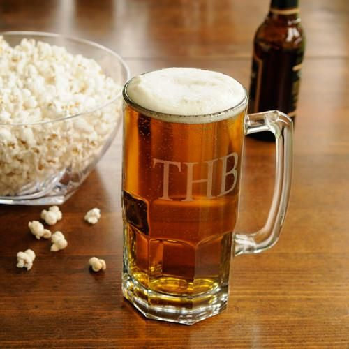 Personalized Beer Mugs - Monster - Groomsmen Gifts - 32 oz.-3Initials-