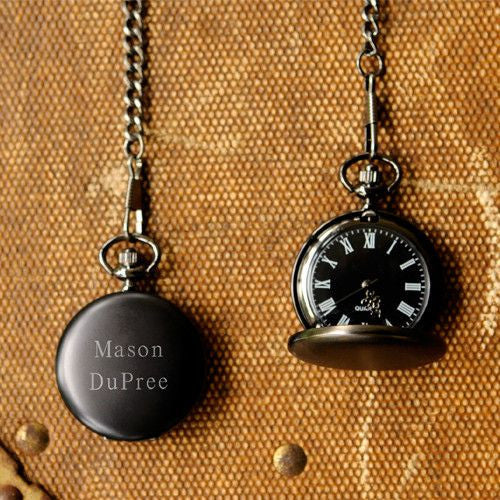 Personalized Pocket Watch - Set of 5 - Midnight - Groomsmen-Default-Black-