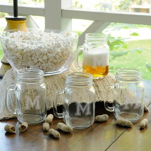 Personalized Collegiate Jar Glass Set of 4