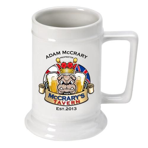 Personalized 16 oz. Ceramic Beer Mug-Barware-JDS-Bulldog-
