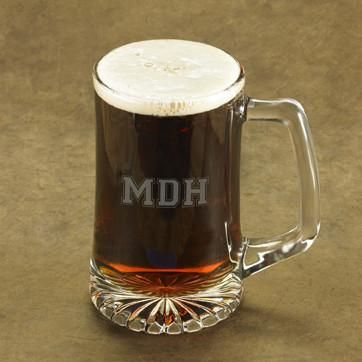 Personalized Beer Mugs - Glass - Monogram - Groomsmen - 25 oz.-3Initials-