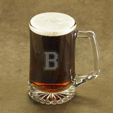 Personalized Beer Mugs - Glass - Monogram - Groomsmen - 25 oz.-SingleInitial-