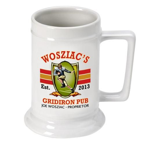 Personalized 16 oz. Ceramic Beer Mug-Barware-JDS-Football-