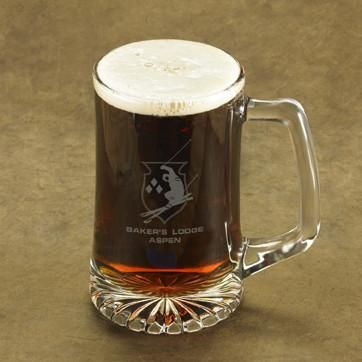 Personalized 25 oz. Icon Beer Mugs-Skier-