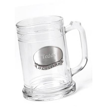 Personalized 16 oz. Groomsmen Beer Mug with Pewter Emblem-Groomsmen Gifts