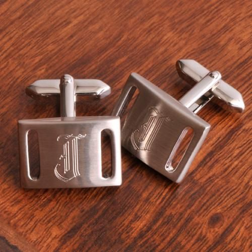 Personalized Marlon Brushed Silver Cufflinks