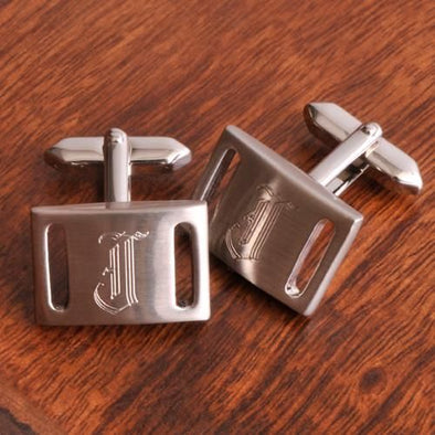 Personalized Marlon Brushed Silver Cufflinks-Default-Silver-