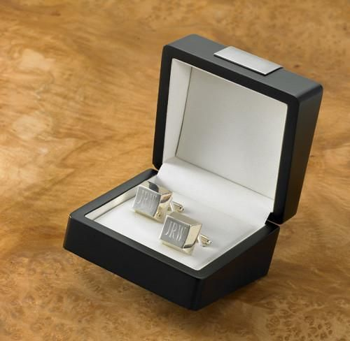 Engraved Sterling Silver Plated Cufflinks for Groomsmen