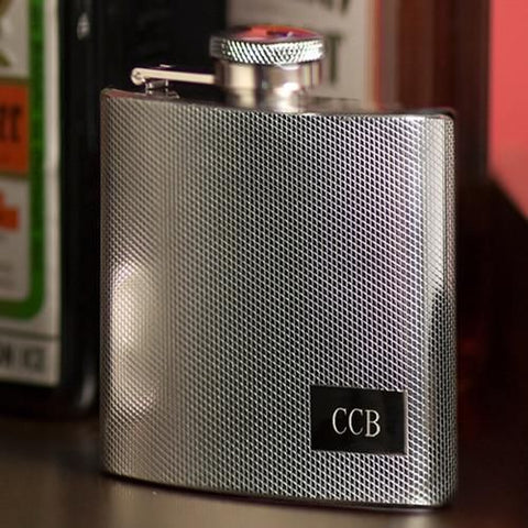 Engraved Textured Stainless Steel Flask
