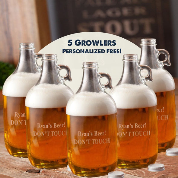 Personalized Growler - Set of 5 - Beer - Groomsmen - 64 oz.-