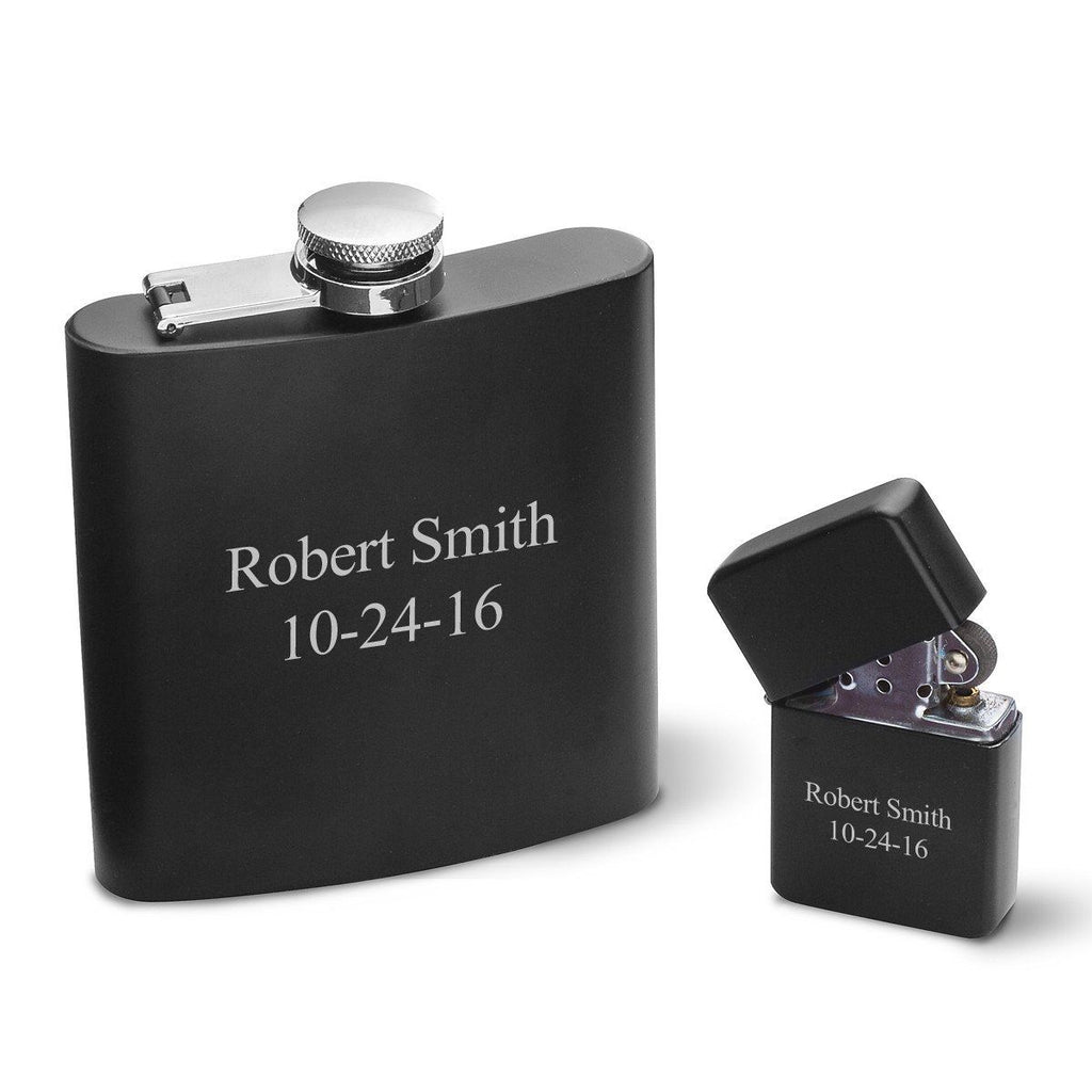 Personalized Flasks - Personalized Lighters - Set - Groomsmen