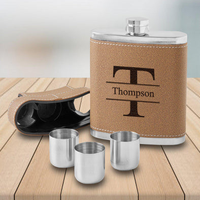 Dewsbury Groomsmen Flask with set of 3 Shot Glasses