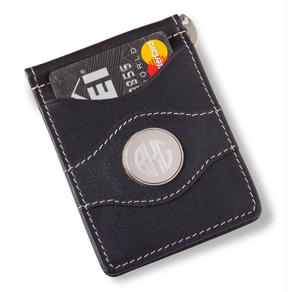 Personalized Metal Pin Money Clip and Wallet-Black-