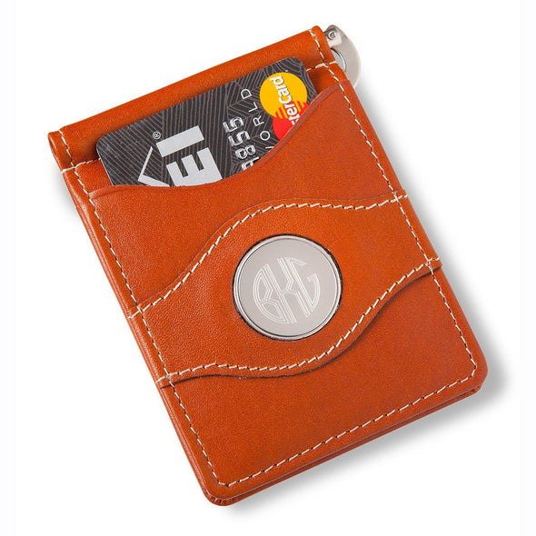 Personalized Metal Pin Money Clip and Wallet-Brown-