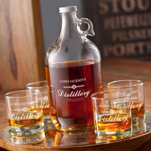 Personalized Growler - Whiskey - 4 Lowball Glasses - 64 oz.-White-