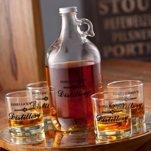 Personalized Growler - Whiskey - 4 Lowball Glasses - 64 oz.