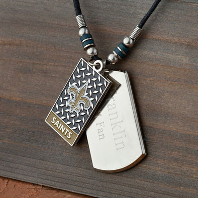 Personalized NFL Dog Tag Necklace-Default-Silver-