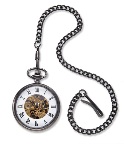 Personalized Pocket Watch - Gears - Gunmetal - Groomsmen Gifts-Groomsmen Gifts